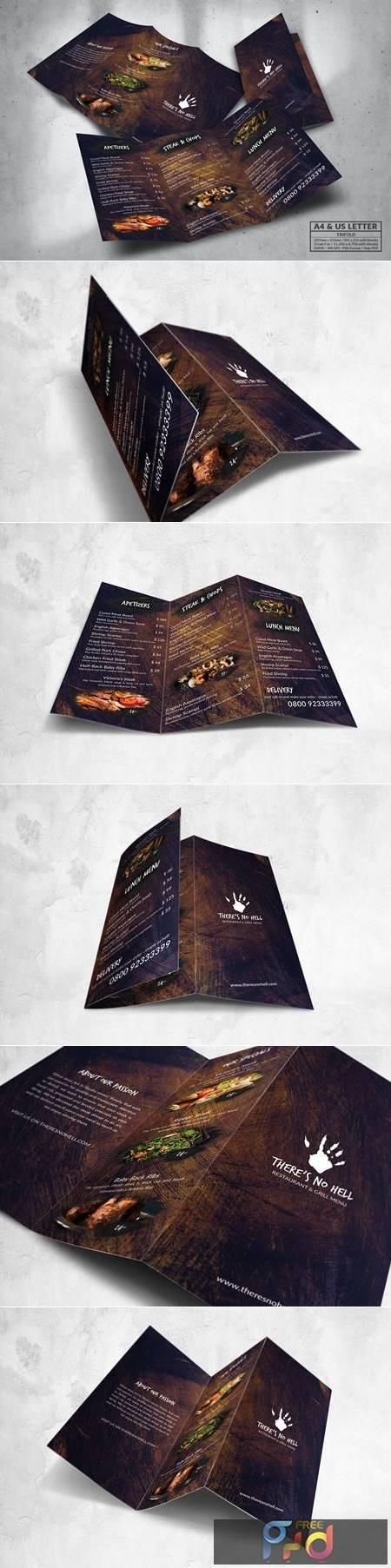 Trifold Food Menu Design A4 & US Letter FMFWN2N 1