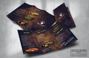Trifold Food Menu Design A4 & US Letter FMFWN2N 8