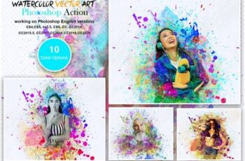 Watercolor Vector Art PS Action 5566054 3