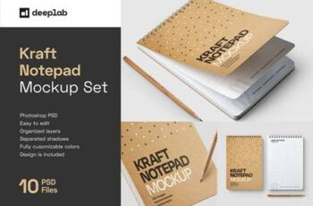 Kraft Notepad Mockup Set, Sketchbook 5708587 11