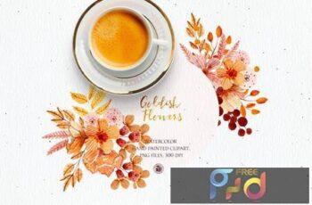 Goldish Flowers - watercolor set NVHV3JG 4