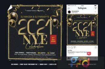 Happy New Year Square Flyer & Instagram Post HS4UW5V 2