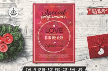 Valentines Day Card Performance Flyer Brochure X77KBQK 13