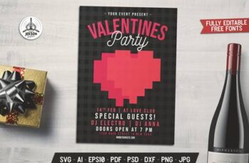 Valentines Day Card Party Flyer Brochure Z2EA5X3 3