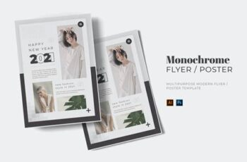 Monochrome New Year Flyer WDN82LK 7