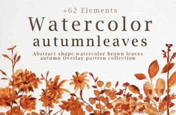 Abstract Shape Watercolor Brown Leaves 7058359 4