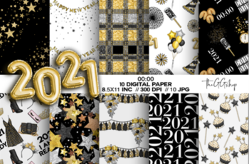 New Year Party Digital Paper Pack 6632345 14