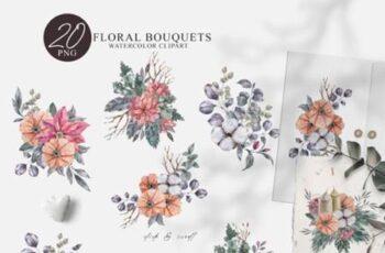 Watercolor Christmas Bouquet Clipart Set 6951496 5