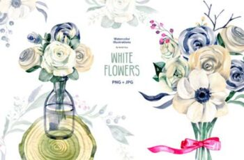 Watercolor White Flowers 7094600 5