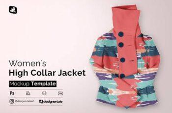 Womens High Collar Jacket Mockup 5113315 3