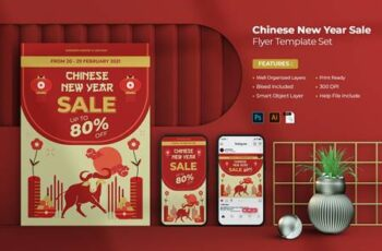 Chinese New Year Sale Flyer Set VE8GU28 2