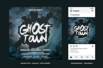 Ghost Town Square Flyer & Insta Post Q9D2D3A 12