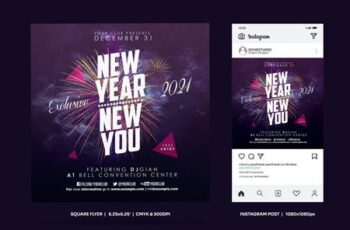 New Year Party Square Flyer Insta Post CU8XECF 5