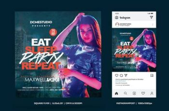 Party Square Flyer & Insta Post 35VKQHX 14
