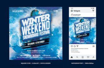 Winter Snowboard Square Flyer & insta Post ZF8634W 6