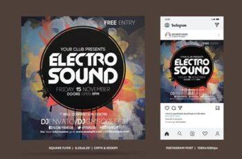 Electro Sound Square Flyer & Insta Post B8BXWQV 8