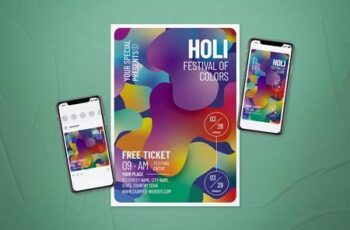 Holi Festival of Colors Flyer Set 6SC8ADY 3