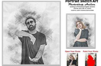 Portrait Sketch Art Photoshop Action 5814489 5
