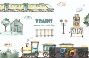 Trains watercolor collection JFZ2BVR 3