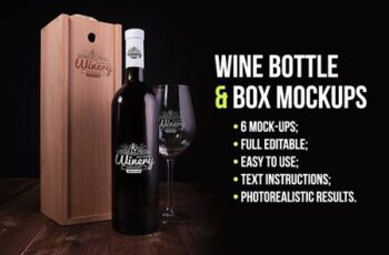 Wine Bottle and Box Mockups 1536840 14