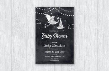 Chalkboard Baby Shower Invitation 29UCVBN 5