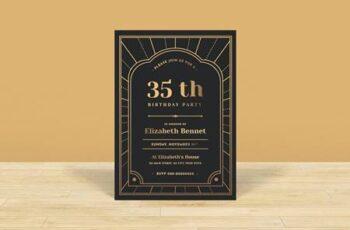 Gold & Classy Birthday Invitation UTYCZBB 4