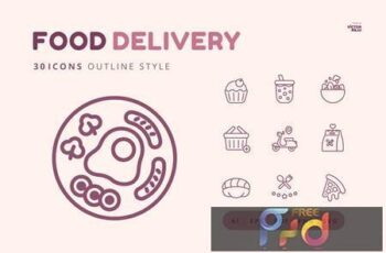 30 Icons Food Delivery Outline Style UJCUZWK 4