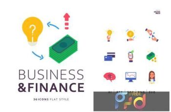 36 Business and Finance Icons Flat Style RF3AYG2 3
