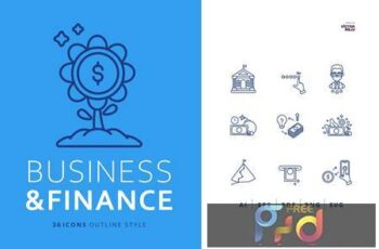 36 Business and Finance Icons Outline Style MLW2VA9 5