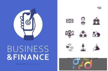 36 Business and Finance Icons Solid Style ATV9KHY 5