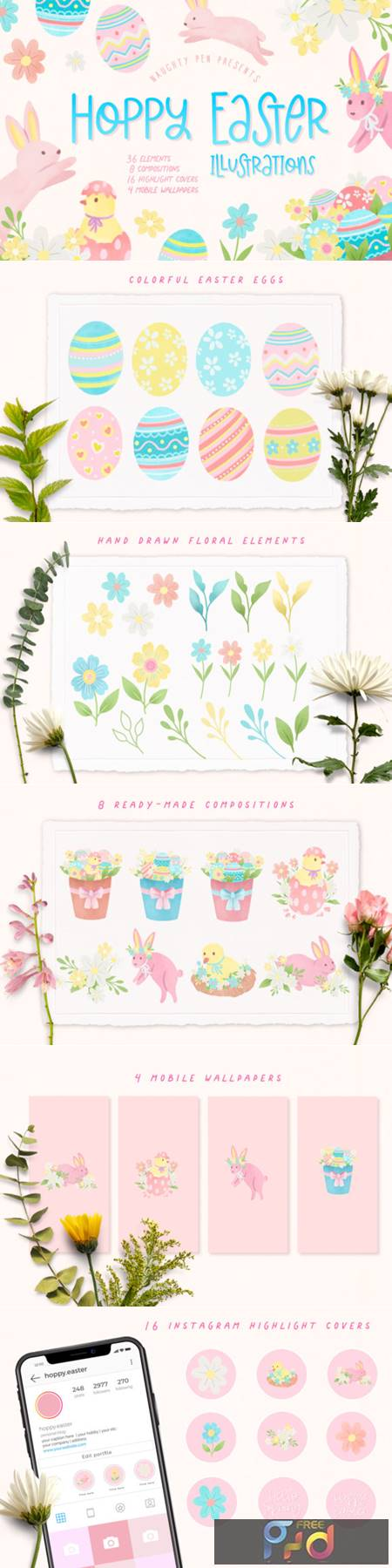Hoppy Easter Spring Bunnies Illustration 8638459 1