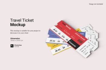 Realistic View Travel Ticket Mockup EGMYK9F 8