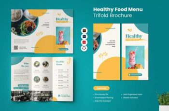 Healthy Food Menu Trifold Brochure UGS3X3W 5
