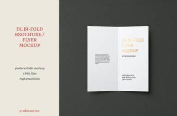 Portrait DL Bi-Fold Brochure - Flyer Mockup V9WE4F2 3