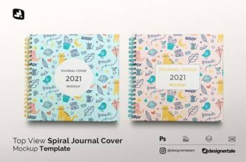 Top View Spiral Journal Cover Mockup 5308815 15