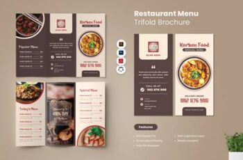Restaurant Menu Trifold Brochure K5BU9EW 16