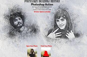 Portrait Scribble Sketch PS Action 5893102 12