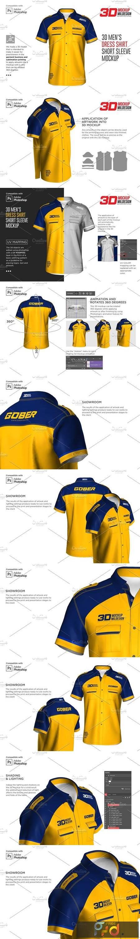 3D Mens Dress Shirt SS Mockup 5881078 1