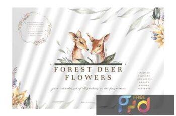 Forest Deer & Flowers VBAWG8D 8
