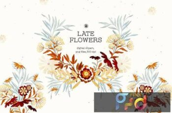 Late Flowers - digital clipart set 2TSBGZQ 7
