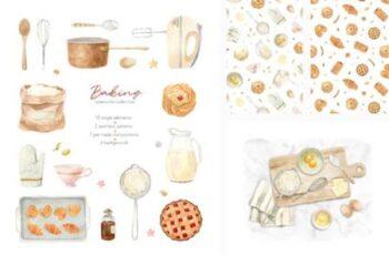 Baking at Home - Watercolor Clipart 9700981 3