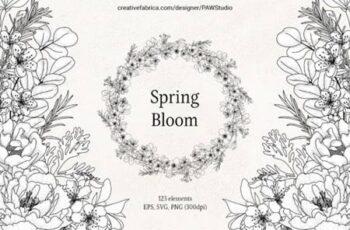 Floral LineArt Flower SVG Frame Monogram 9705171 1