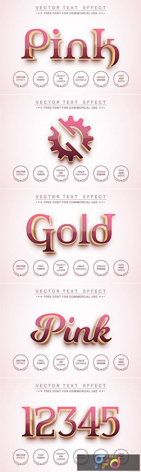 Pink gold - editable text effect, font style 8EBK4FH 1