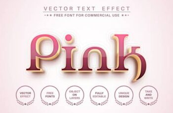Pink gold - editable text effect, font style 8EBK4FH 4