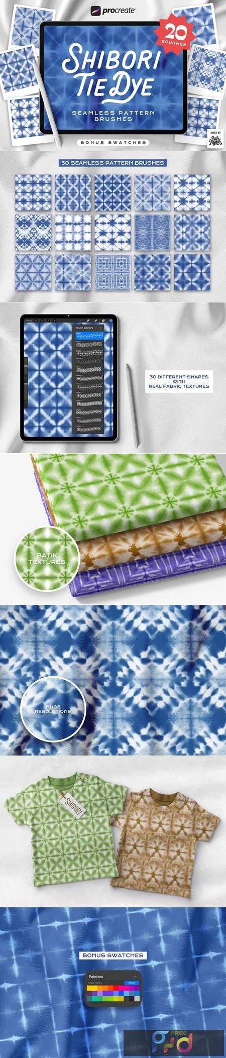 Procreate Tie Dye Shibori Seamless Pattern Brushes G3DW8XW 1