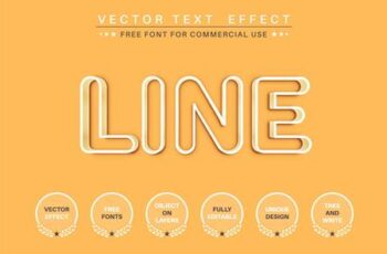 Yellow outline - editable text effect, font style ZHF2H2H 1