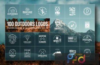 100 Outdoors Adventurers Logos & Illustrations JK2KAFR 10