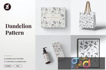 Dandelion vintage illustration and pattern LLDA3SF 5