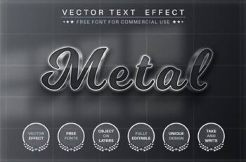 Dark metal - editable text effect, font style VKUS9BT 14