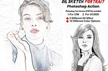 Oil Sketch Portrait Photoshop Action 5912606 2